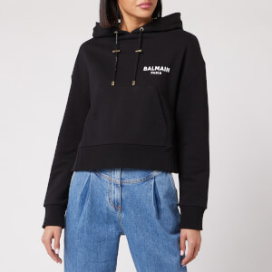 Balmain Women's Short Flocked Logo Detail Hoodie - Black