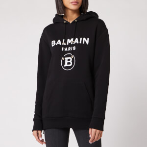 Balmain Women's Flocked Logo Hoodie - Black