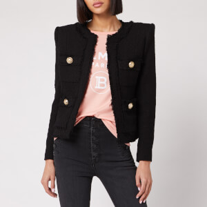 Balmain Women's Collarless 4 Pocket Tweed Jacket - Black