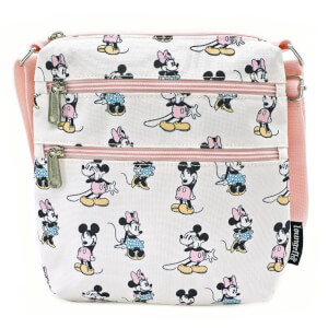 Loungefly Pastel Minnie Mickey AOP Nylon Passport Bag