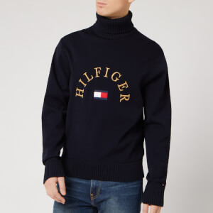 Tommy Hilfiger Men's Flag Logo Roll Neck Sweatshirt - Desert Sky