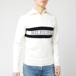 Tommy Hilfiger Men's Chest Logo Zip Neck Top - Ecru