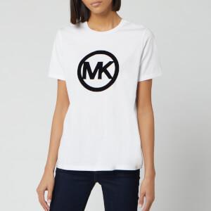 MICHAEL MICHAEL KORS Women's Circle Logo Flock T-Shirt - White