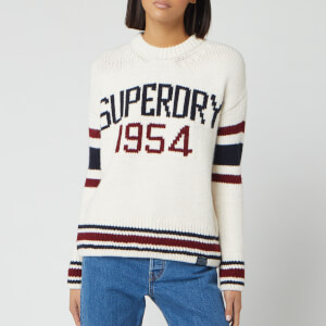 Superdry Women's Intarsia Slouch Knitted Jumper - Cream