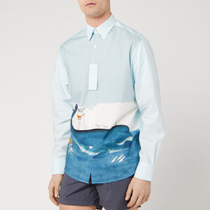 Lanvin Men's Straight Shirt Babar Diving Print - White/Blue