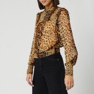 Free People Women's Roma Blouse - Brown Leopard