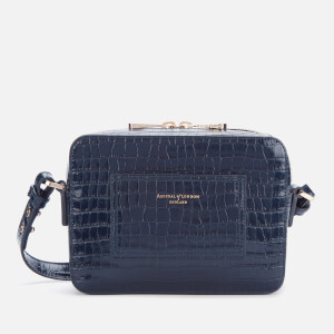 Aspinal of London Women's Deep Shine Small Croc Camera Bag - Midnight Blue