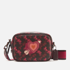 Coach 1941 Women's Coated Canvas Heart Print Camera Bag - Black/Oxblood