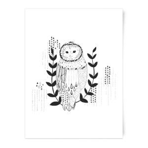 Line Art Owl Art Print