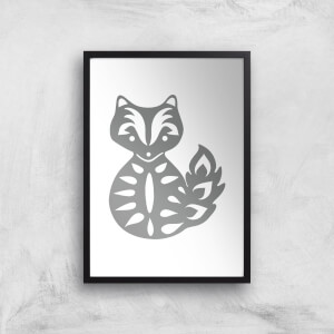 Folk Silhouette Fox Cutout Art Print