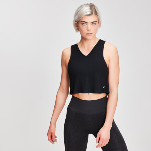 MP Ribbed V Cropped Vest - Schwarz