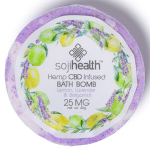 Soji Health Bath Bomb Hemp CBD Infused Lemon Lavender & Bergamot 25mg