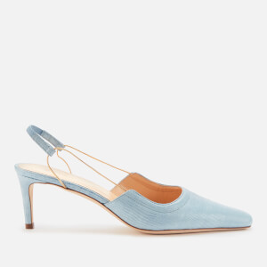 by FAR Women's Gabriella Lizard Embossed Leather Sling Back Heels - Sky Blue