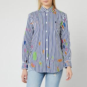 Polo Ralph Lauren Women's 120'S Stripe Paint Splatter Shirt - 525 Navy/White