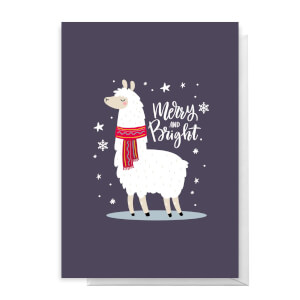 Merry And Bright Llama Greetings Card