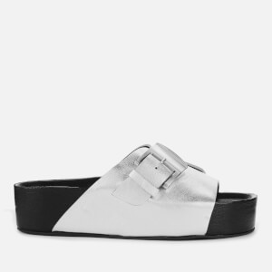 Simon Miller Women's Chunk Leather Slide Sandals - Silver
