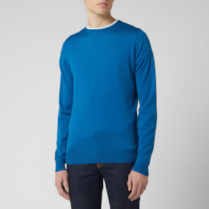 John Smedley Men's Lundy 30 Gauge Extra Fine Merino Crew Neck Jumper - Blue Peek