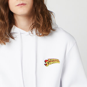 DC Superman Unisex Embroidered Hoodie - White