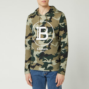 Balmain Men's Hooded Camouflage Hoody - Khaki