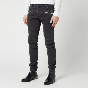 Balmain Men's Ribbed Slim Jeans Monogram Embossed Stone - Noir