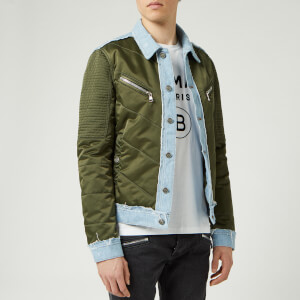 Balmain Men's Mix Denim/Nylon Jacket - Khaki