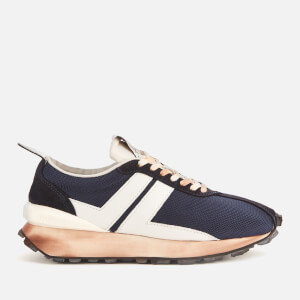 Lanvin Men's Suede Running Trainers - Navy Blue/White