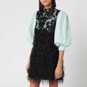 Ganni Women's Feathery Cotton Mix Shirt Mini Dress - Black