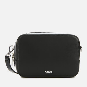 Ganni Women's Textured Leather Camera Bag - Black