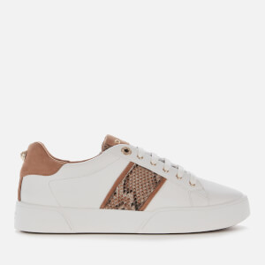 Dune Women's Elsie S Leather Low Top Trainers - White Reptile Print