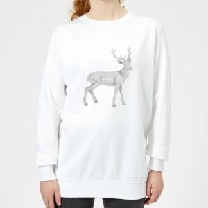 Glitter Stag Women's Sweatshirt - White