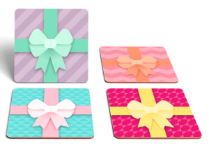 Christmas Presents Square Coaster Set