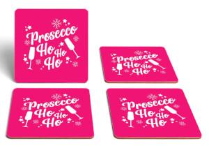 Prosecco Ho Ho Ho Square Coaster Set