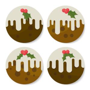 Christmas Puddings Round Coaster Set