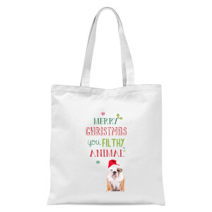 Merry Christmas bulldog Tote Bag - White