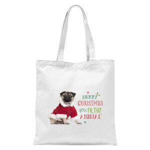Christmas Pug Tote Bag - White