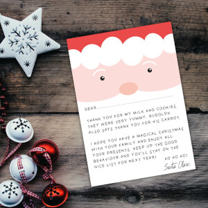 Santa Face Thank You For My Milk And Cookies Art Print - A4