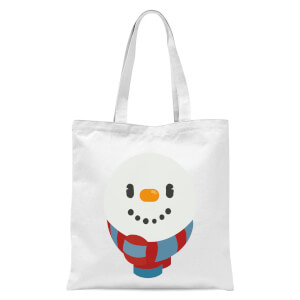 Festive Snowman Face Tote Bag - White