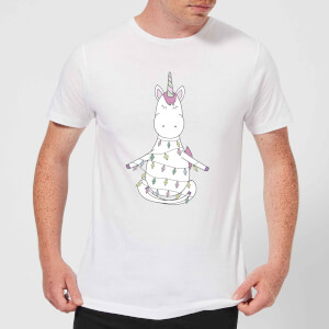 Unicorn Wrapped In Christmas Lights Men's T-Shirt - White