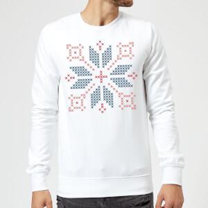 Cross Stitch Festive Shape Sweatshirt - White