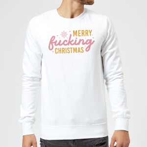 Cross Stitch Merry Fucking Christmas Sweatshirt - White