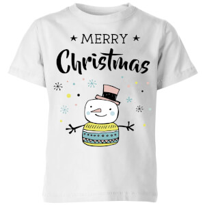 Merry Christmas Snowman Kids' T-Shirt - White