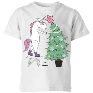 Unicorn Decorating The Christmas Tree Kids' T-Shirt - White