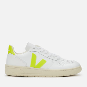Veja Women's V-10 Leather Trainers - Extra White/Jaune Fluo