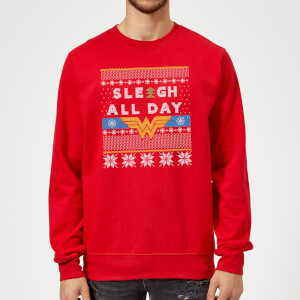Wonder Woman 'Sleigh All Day Christmas Sweatshirt - Red