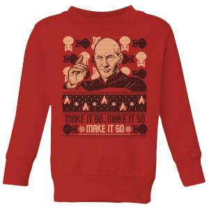 Star Trek: The Next Generation Make It So Kids' Christmas Sweater - Red