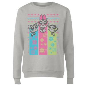Power Puff Girls Women's Christmas Sweatshirt - Grey