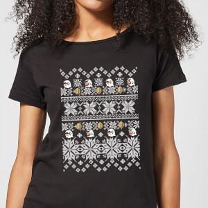 T-Shirt Nintendo Super Mario Retro Boo Christmas - Nero - Donna