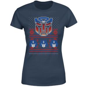 Autobots Classic Ugly Knit Women's Christmas T-Shirt - Navy