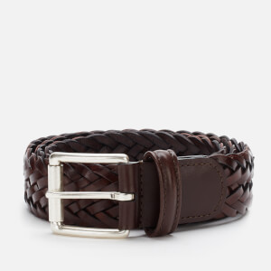 Anderson's Men's Woven Leather Belt - Dark Brown