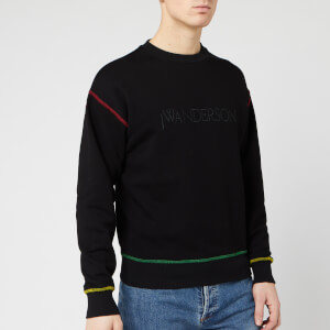 JW Anderson Men's Logo Embroidery Sweatshirt - Black